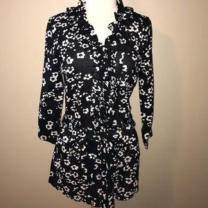 Ann Taylor LOFT Black and White Button Down Tunic.